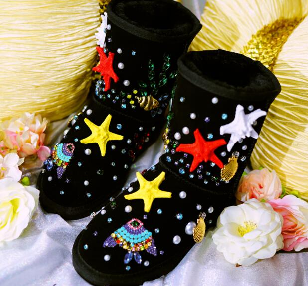 2018 winter women shoes Starfish shell Handmade women's shoes appliques crystal flats snow boots Luxury women's ankle boots sand shell starfish pattern floor area rug