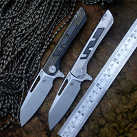 CH Flipper Butcher 2 Knife S35VN Blade ceramic ball bearing washer TC4 Titanium Handle Outdoor Hunting Pocket Knives