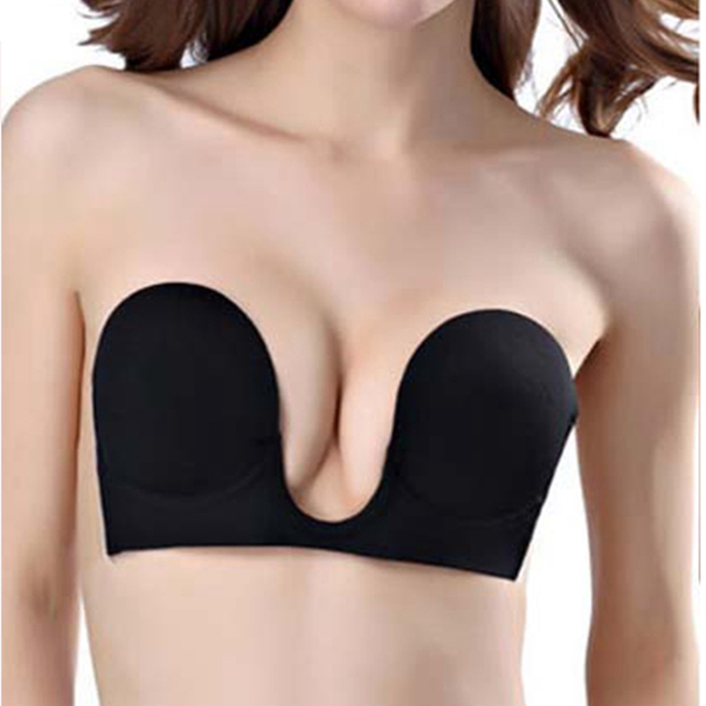 ca5d0fcc55177 1PC Women Push Up Invisible Bra Strapless Bras Formal Dress Wedding Evening  Self-Adhesive Silicone Brassiere Deep U Plunge Bra