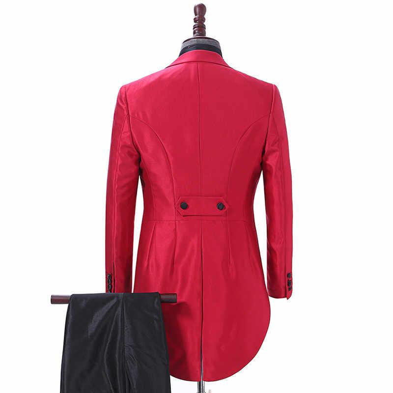 c79fce6cf7e ... 2018 Elegant Men Suit Red Tailcoat Mens Suits For Wedding Dinner Groom  Tuxedo Jacket Pants 2Pcs ...