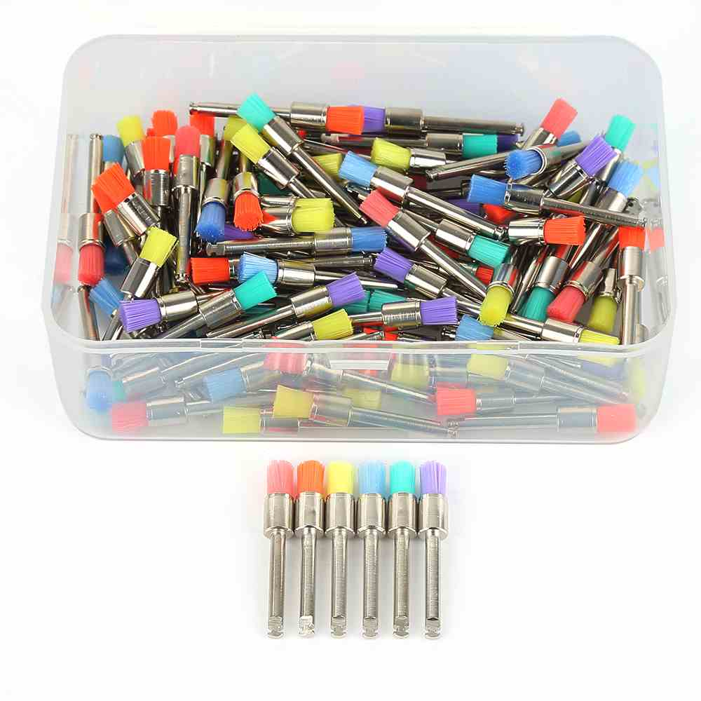 100Pcs 0.4cm Dental Lab Nylon Latch Small Flat Polishing Polisher Prophylaxis Brushes Disposable Dental Care Brush Head With Box