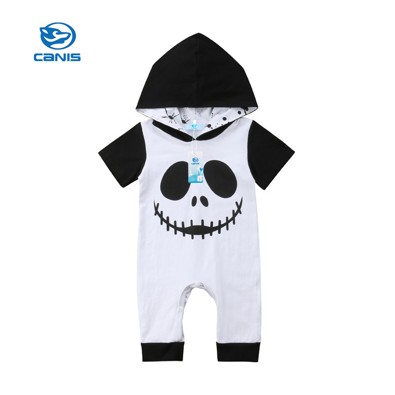 CANIS Infant Newborn Baby Boy Girl Halloween Costume Ghost Hooded   Romper   Jumpsuit Black Bebe Boys Girls   Rompers   Clothes Outfits
