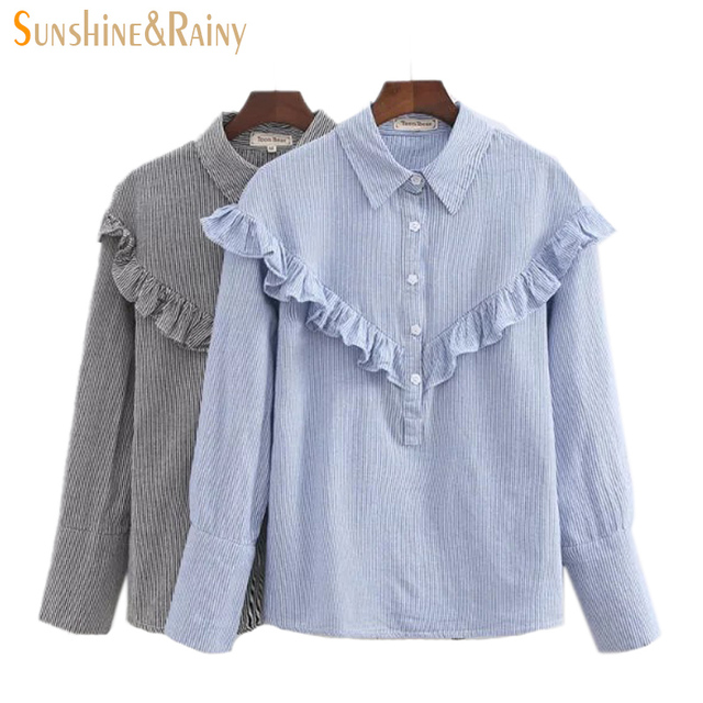 autumn women ruffles stripe blouse Petal collar striped blue blouses female Patch long sleeve cotton women shirts sweet tops