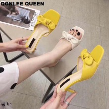 DONLEE QUEEN 2019 Summer Slippers Women Mules Butterfly Knot Modern Design High Heel Slip On Peep Toe Lady Flip Flops Women Shoe prova perfetto popular mesh polka dot slippers women sandal pointed toe kitten heel butterfly knot slides summer lady mules shoe