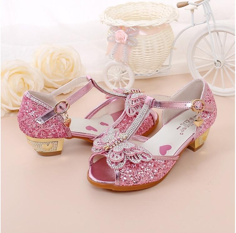 Hot Sale Kinderschoenen Crystal Bow Shiny High Heels Princess Shoes - Kinderschoenen - Foto 3