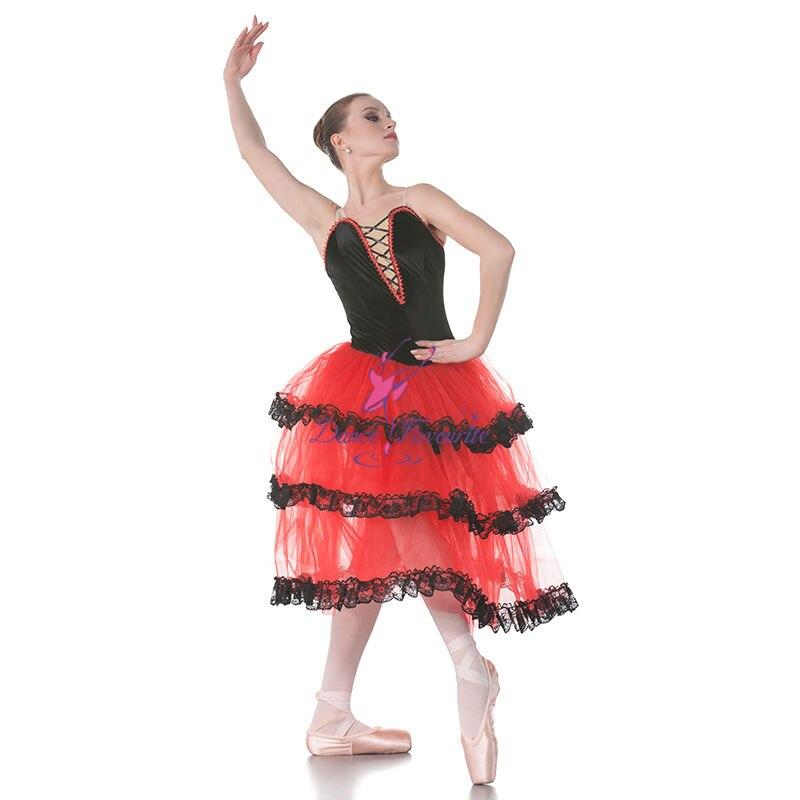 Dance Favourite Red Spanish Long Ballet Tutu Black Velvet Blace Top Bodice Ballet Costumes Dance Tutu, Ballerina Dance Costumes