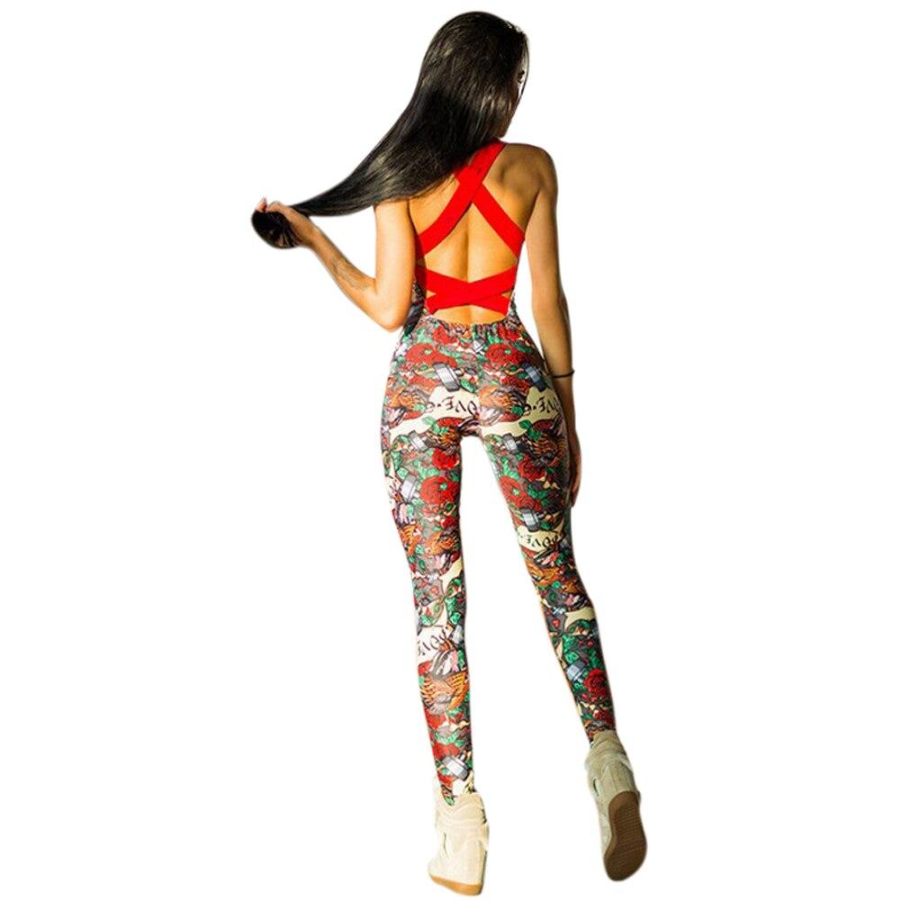 Temperato Nuovo 1 Pc Donne Vestito Di Yoga Casual Stampato Floreale Backless Senza Maniche Con Spalline Tuta