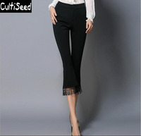 Women Eelgant OL Office Work Elastic Slim Lace Tassels Cropped Flare Pants Fashion Plus Size Calf