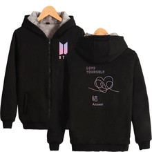 hot deal buy 2018 luckyfridayf thicken hoodies women/men winter bts love yourself answer zipper hoodies sweatshirts fashion kpop warm clothes