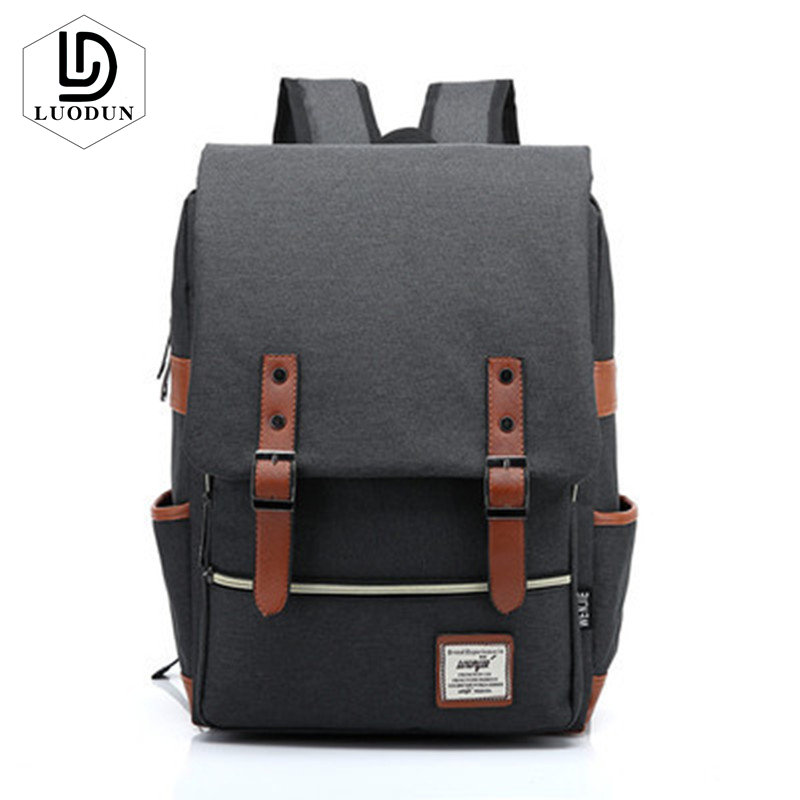 Luodun Retro Men Women Canvas Backpacks School Bags For Teenagers Boys Girls Casual Rucksacks Travel Bag Laptop Bag Male Mochila