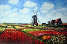 Tulip Field with the Rijnsburg Windmill by Claude Monet Handpainted