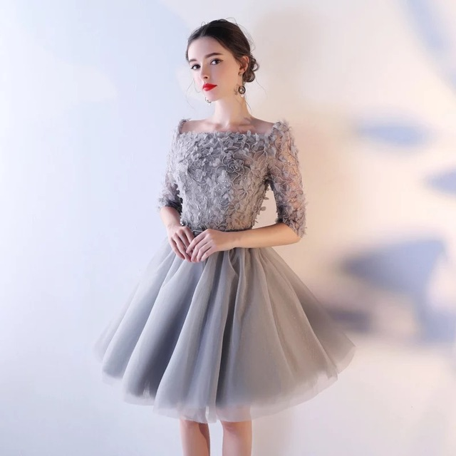Boat Neck Half Sleeves Short/Mini A-Line Flower Lace Applique Crystal Organza Prom Dresses Sexy Organza Satin Inside Party Gowns