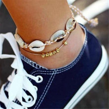 Summer Double Layer Sea Shell Anklets Bracelets Bohemian Handmade Beads Gold Color Anklet Chain Engagement Gift For Women chic solid color double layer anklet for women