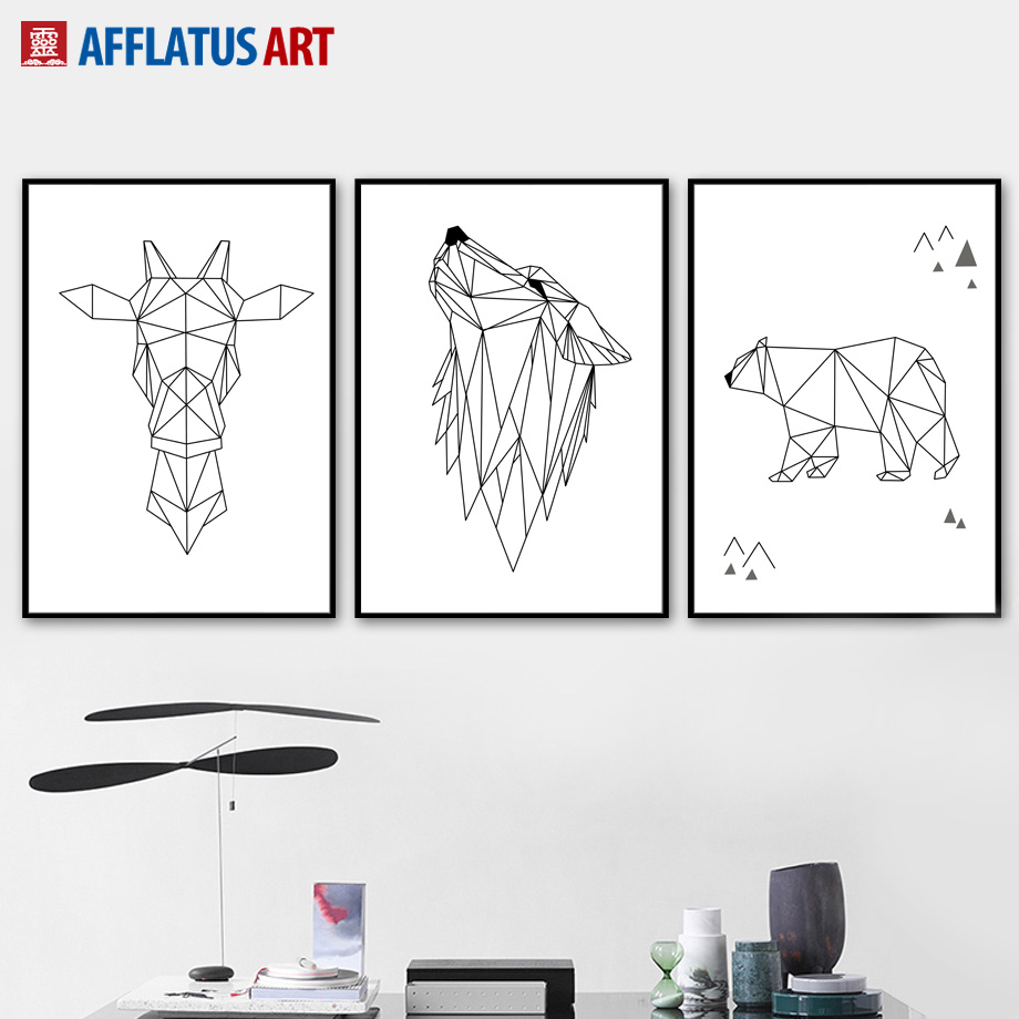 Geometry Deer Bear Wolf Line Drawing Wall Art Canvas Painting Nordic Posters And Prints Wall Pictures For Living Room Wall Decor line art