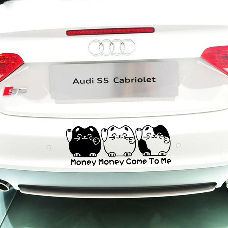 Lovely cartoon car bumper stickers and decalsmoney money come to me funny car stickerautomobile vinyl accessories for any car in car stickers from