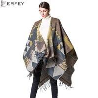 Lerfey otoño impresión geométrica mujeres poncho cabo largo grueso invierno Mantones manta Cachemira bufanda con borla nueva pashminas