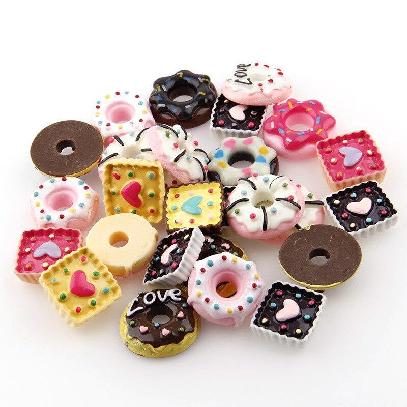 20PC Mix Pink Cake Resin Flatback Flat Back Cabochon Kawaii DIY Resin Craft Decoration Miniature Resin Cream Bread Food For DIY
