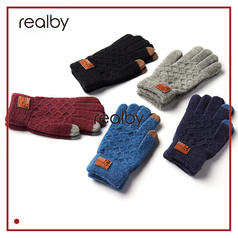 REALBY Mens Winter Gloves Smartphone Fingerless Gloves Screen Coffee luvas de inverno Hand Warmer hombre mitones Guantes Homme
