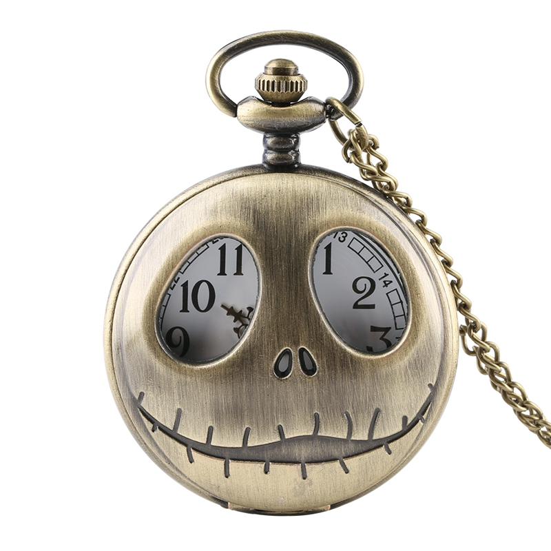 Tim Burton The Nightmare Before Christmas Pocket Quartz Necklace Watch For Men Women Bronze Pendant Chain Clock Gifts For Kids