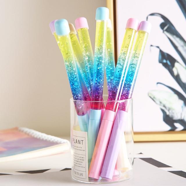 ג 'ל עט Kawaii 0.5mm פיות מקל קריסטל להיסחף חול גליטר ניטראלי קשת צבעוני עטים לכתיבה Chancery חומר Escolar