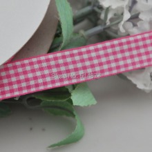 Upick 5/8″ 15mm Fushia Color One Roll Tartan Plaid Ribbon Bows Appliques Sewing Crafts 50Y
