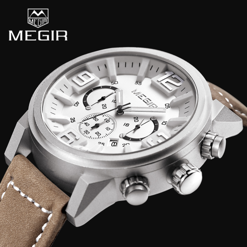 2017 New Luxury Brand MEGIR Men Sports Watches Quartz Date Clock Fashion Casual Leather Strap Men's Army Military Wrist Watch voodoo ii shark army auto date black silicone strap military wristwatch sports clock men military quartz wrist watches saw177