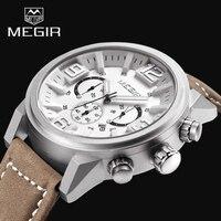 2017 New Luxury Brand MEGIR Men Sports Watches Quartz Date Clock Fashion Casual Leather Strap Men