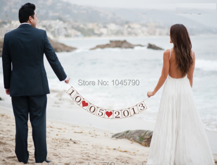 Free Shipping 1 X Customized Date Banner Wedding Photo Props Save the date Sign Party Decoration Supplies