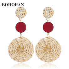 Bohemia Long Weave Earrings For Women Red Green Large Round Dangle Earrings Geometric Holiday Female Jewelry Summer 2018 brincos цена