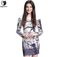 HUOX Plum Flower Printed Mini Fall Winter Elegant Dress Women Sexy O-neck Long Sleeve Dress Slim Sheath Office Party Dress