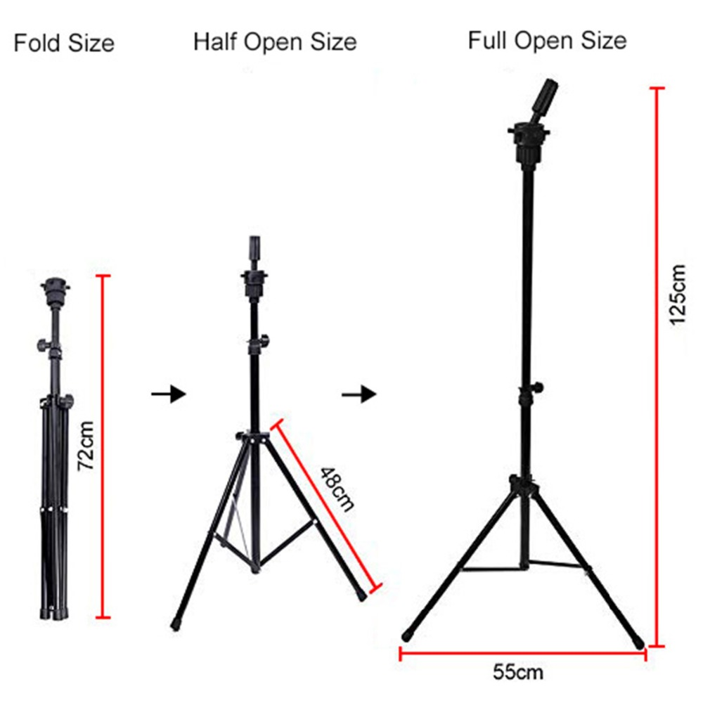 Leeven Adjustable Wig Stand Tripod For Canvas Block Head Making Wigs Stand With Carry Bag Mannequin Head Tripod Stand Holder