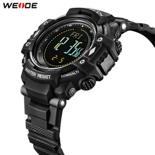 WEIDE Man Luxury Sports Military PU leather Strap Band Quartz Movement Analog Clock Hours Wrist Watches Relogio Masculino weide wh1107 sports man s rubber band quartz analog digital waterproof wrist watch black