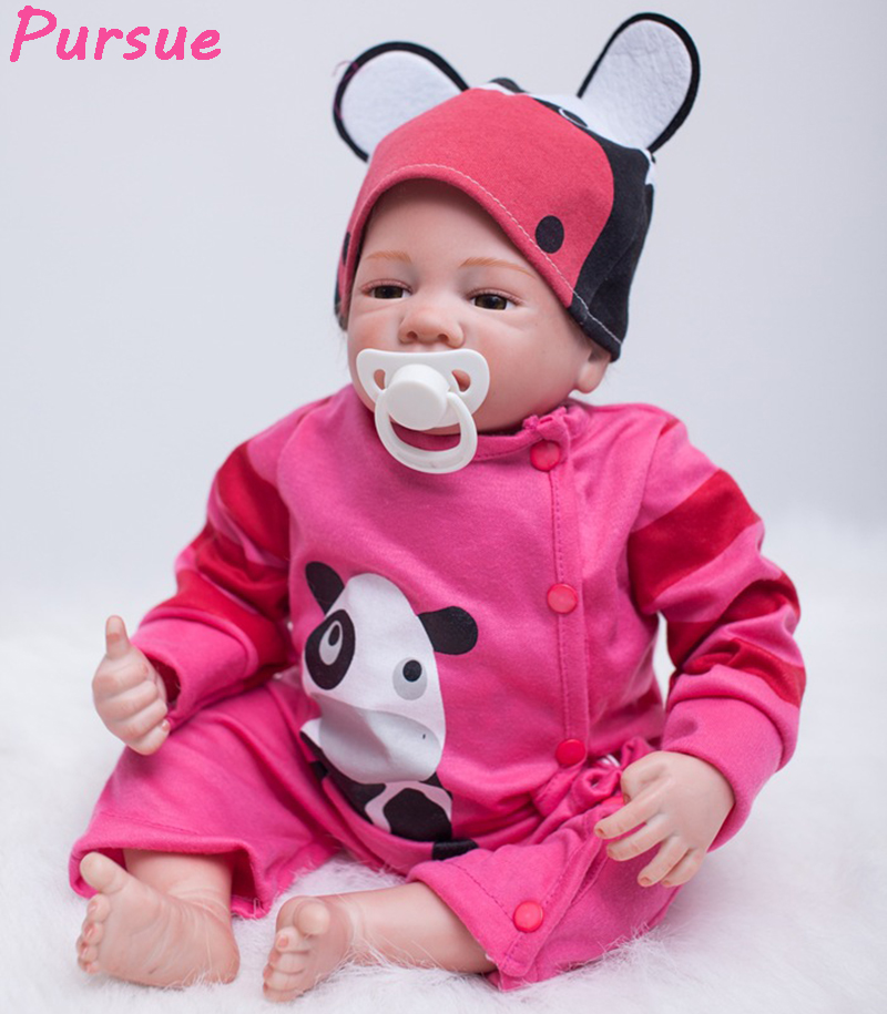 Pursue 53 cm Cheap Cute Bebe Reborn Silicone Real Boy Girl Newborn Silicone Toddler Baby Doll for Sale Red Clothes Cloth Body pursue 22 56 cm big smile face reborn boy toddler baby doll cotton body vinyl silicone baby boy doll for children birthday gift