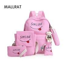 Mallrat Лето Для женщин холст 6 компл. рюкзак печати студенты Bookbag 6 шт. школьная сумка комплект для молодежи Обувь для девочек с сумочкой медведь Mochila