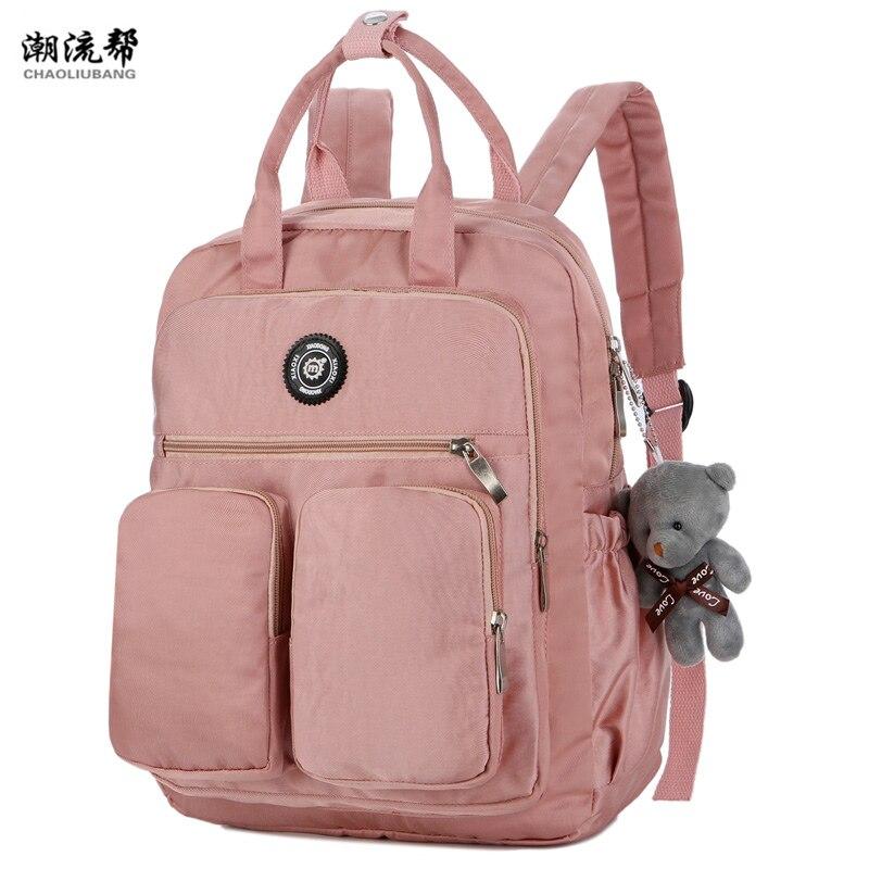 2019 moda mulher mochila à prova dwaterproof água náilon macio alça sólida multi-bolso bolsa de viagem com zíper feminina sac a dos sacos de escola