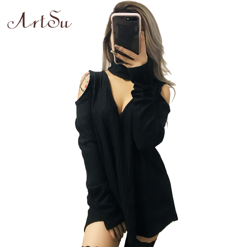 ArtSu Sexy V Neck Women Knitted Mini Dresses Fall Winter Long Sleeve Party A-Line Sweater Dress Off Shoulder Vestidos ASDR30394 цена