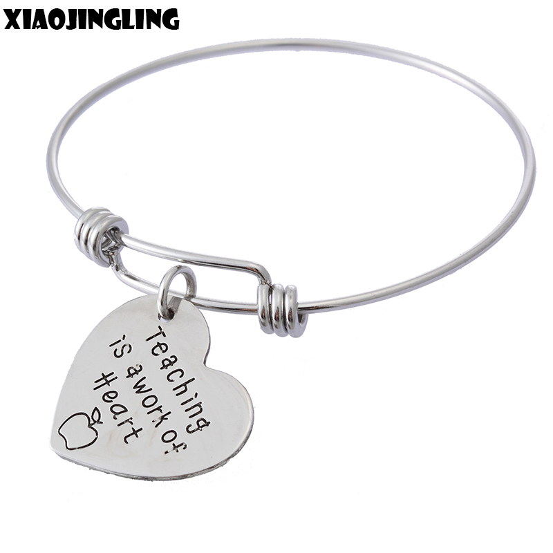 XIAOJINGLING Fashion Jewelry Pendants Bracelet Bangles Charm Women Heart Bracelets Teaching is a work of Heart Teachers Gifts