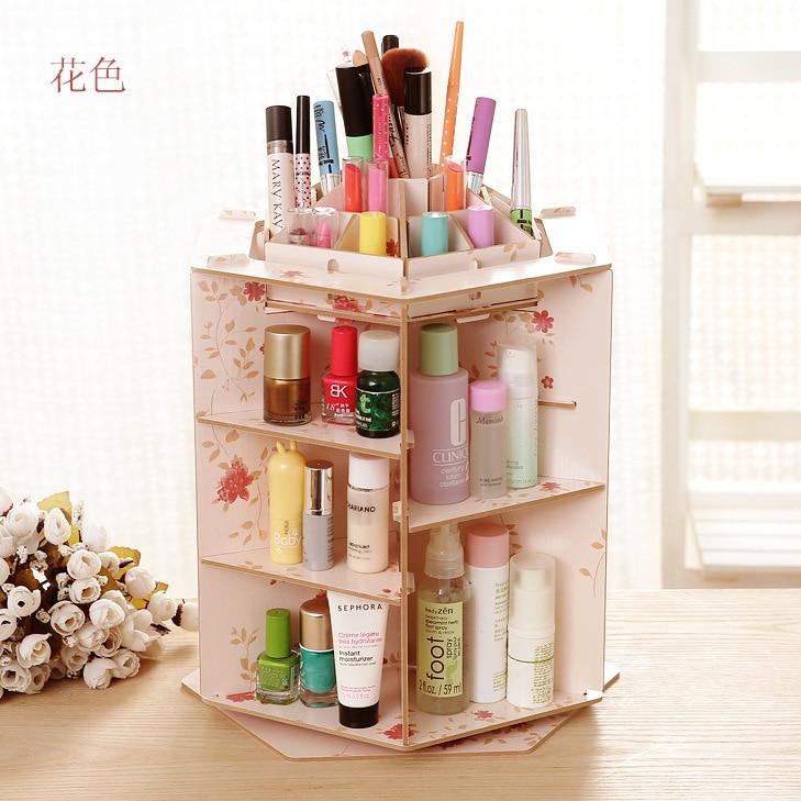 Hot Sale Cute Wooden Office 360 rotate Desktop Storage Boxes Makeup Organizer Storage Box