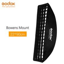 "Godox softbox 22x90cm 9 ""x 35"" נייד מלבני כוורת רשת Softbox רך תיבת עם Bowens הר לסטודיו פלאש"
