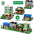 Городских Зданий Блоков Домов 4 Мини Улицы Нашего Города Кукольный Дом Обучения Образование Кирпичи Игрушки Совместимость с lego City