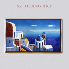 The Greek landscape  Hand Painted Oil Painting on Canvas Modern Mediterranean Sea Seascape for Home Decoration H