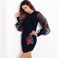 Women Fashion Lantern Sleeve Dress With Embroidery Floral Mesh Black White Dress Long Sleeve Dress For