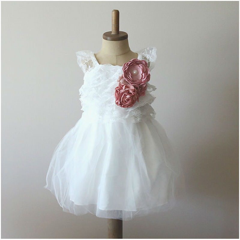 Criss Cross Lace Flower Girl Dress For Weddings Tulle Pageant Dress Knee Length Mother Daughter Dresses A-line Sweetheart Dress trendy women s sweetheart neck sleeveless floral print knee length dress