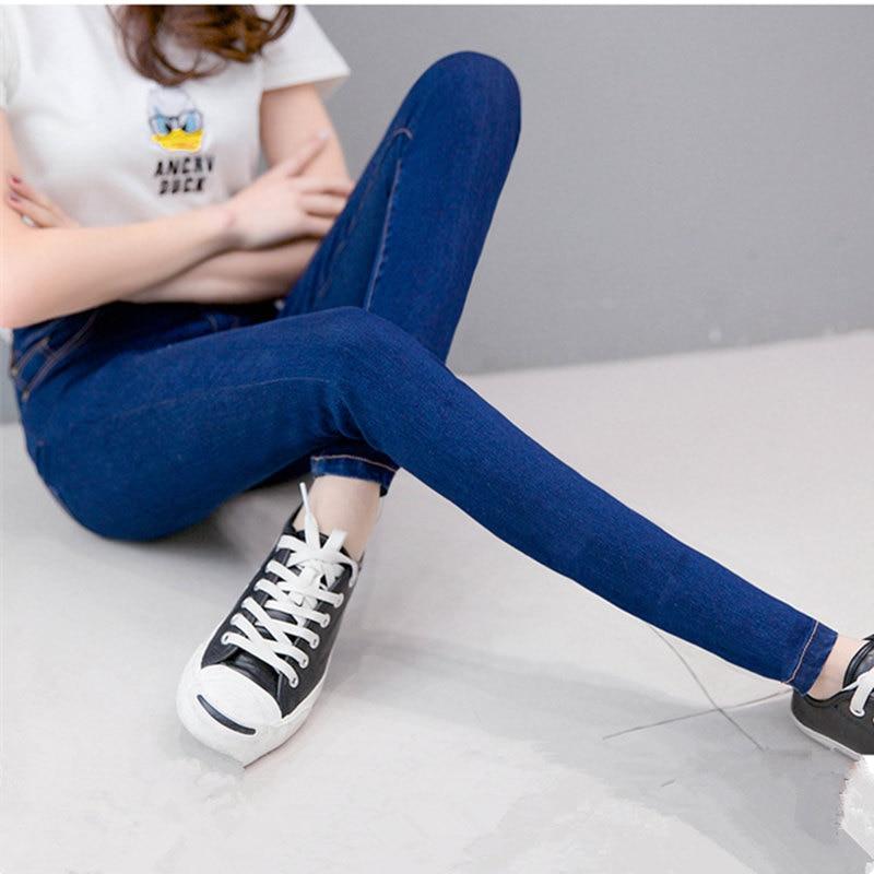 Slim Jeans For Women Skinny High Waist Jeans Plus Size 38 Blue Denim Pencil Pants Stretch Waist Pants Calca Feminina MZ1496 spring 2014 plus size denim bib overalls women slim stretch skinny jeans for women denim pencil pants jumpsuit free ship b2318
