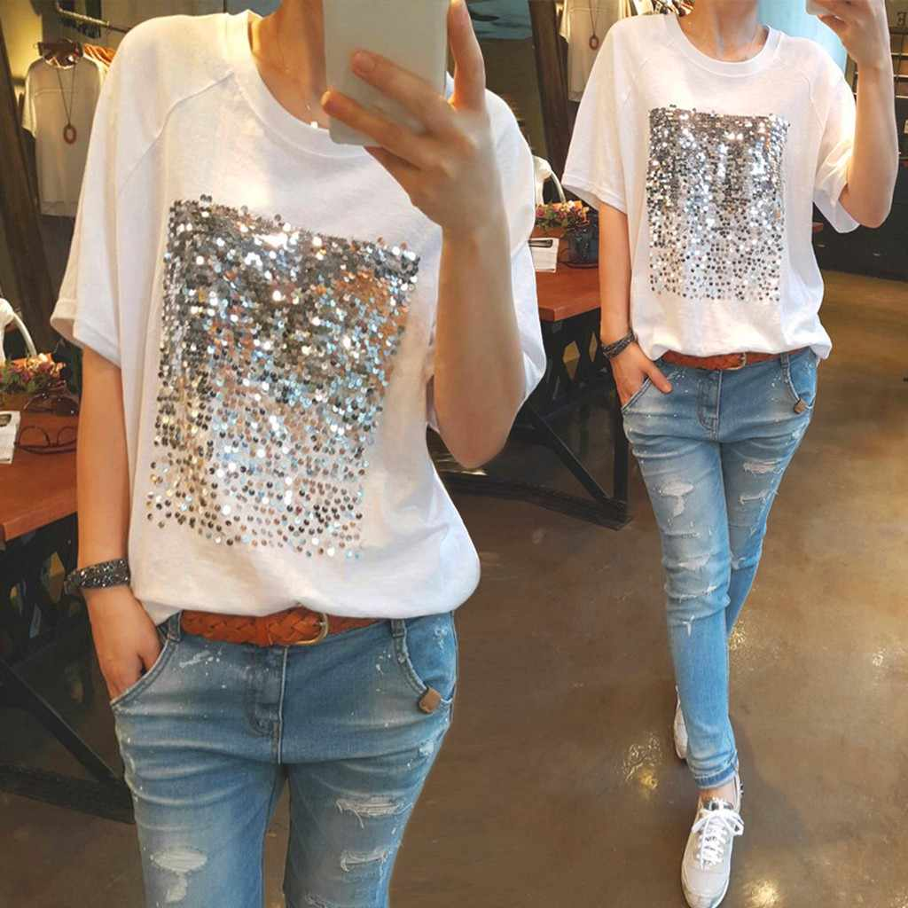 Fashion Women Bright Loose Short Sleeve solid color Casual Wild Casual O-Neck Tops roupas femininas#15