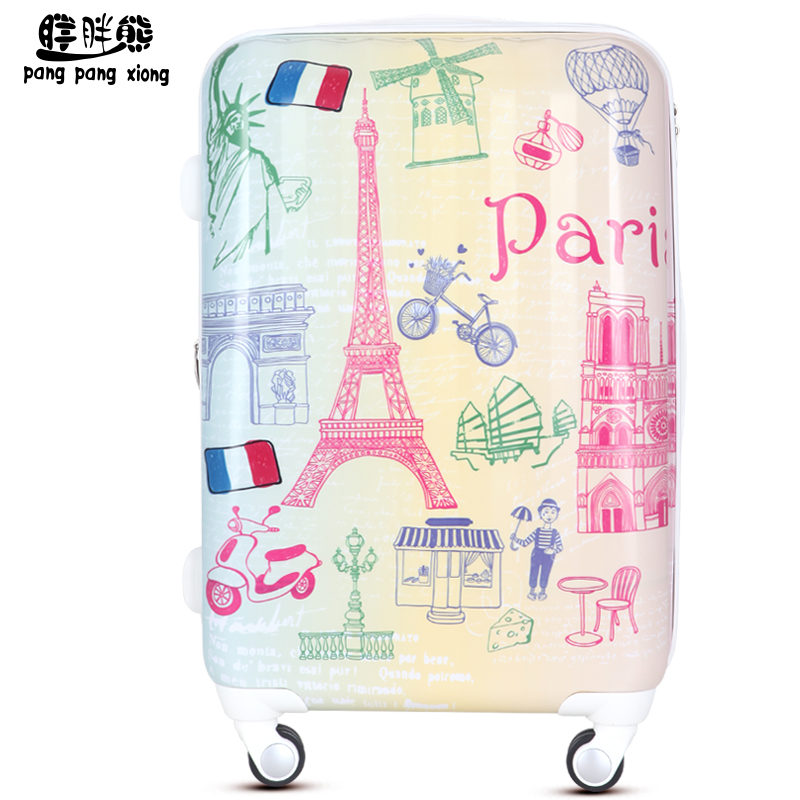 Fashion trolley luggage wheels womens universal box abs travel bag luggage,20 24 28 abs pc euro style fashion travel luggage