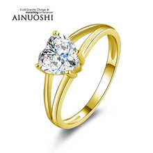 AINUOSHI 10k Solid Yellow Gold Wedding Ring Classical 1.6 ct Solitaire Heart Shape Simulated Diamond Band Women Engagement Rings