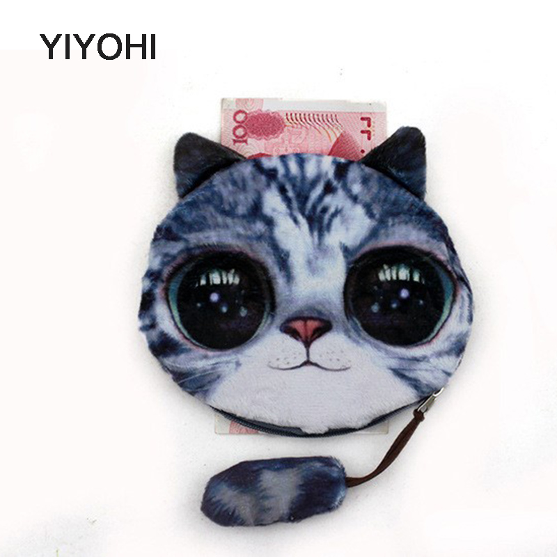 YIYOHI new coin purses wallet ladies 3D printing cats dogs animal big face change fashion cute small zipper bag for women