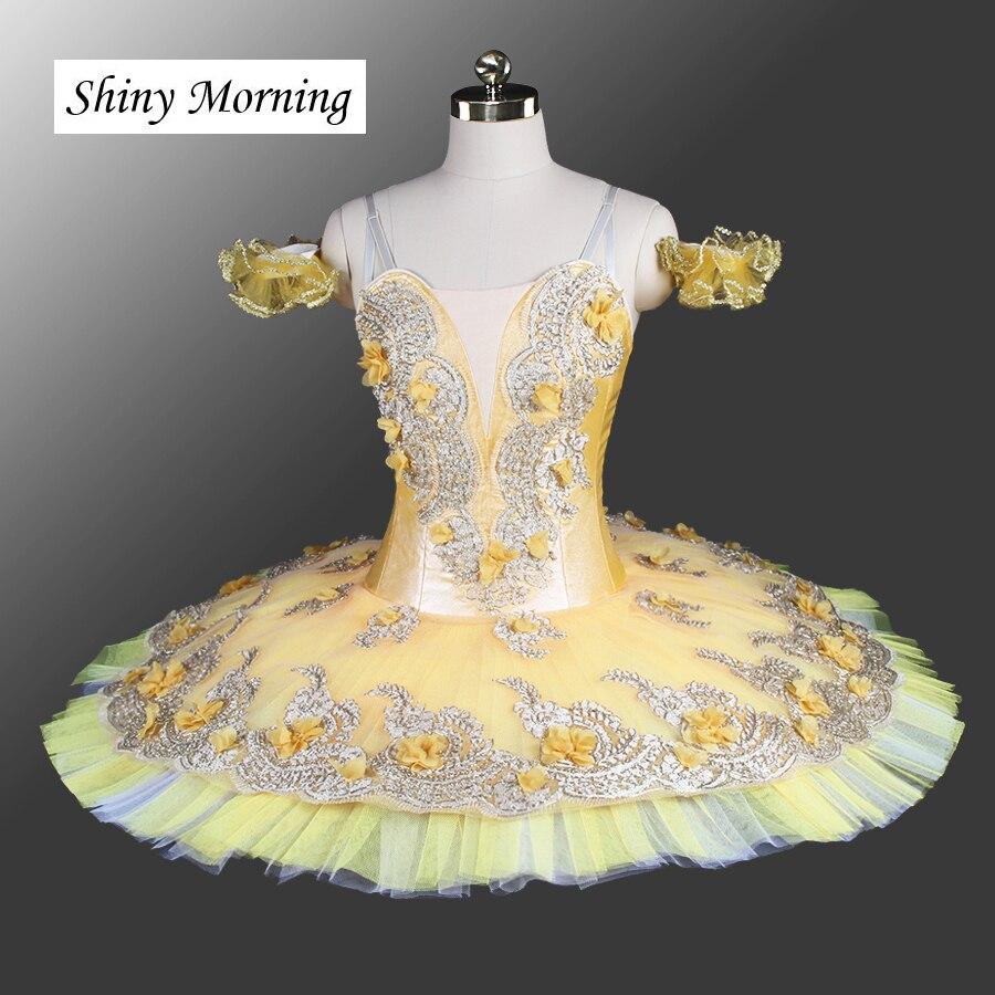 Professionnel Ballet Tutu Costume Kitri Femmes Adulte jaune Don Quichotte Ballet Tutus Jupe Classique Ballerine Stade Costume