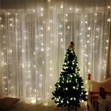 220V/110V LED Curtain String 3x3m 300LED icicle String Light Holiday Wedding Party Christmas Decoration Garland Lights недорого